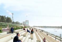 Новая набережная Гребного канала: скейт-парк, сады на склонах и мост-петля